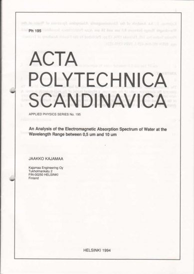Front cover of issue Ph195 of Acta Polytechnica Scandinavia 1994 authored by Jaakko Kajamaa, An Analysis of the Electromagnetic Absorption Spectrum of Water at the Wavelength Range between 0.5 µm and 10µm